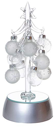 Mini Light Up Glass Christmas Tree, Small Table Top Holiday Season Décor with Removable Sphere Ornaments, Clear & Frosted Snowflake Design, 6 Inches ()