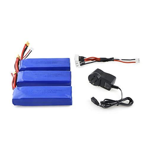 3Pcs Upgraded 7.4V 2300mAh 2S 35C Li-po Rechargeable Battery with XT30 Plug Charger For MJX Bugs 6 B6 RC Drone Quadcopte 3Pcs Batería recargable Li-po mejorada de 7.4V 2300mAh 2S 35C con cargador de enchufe XT30 para bichos MJX 6 B6 RC Drone Quadcopte
