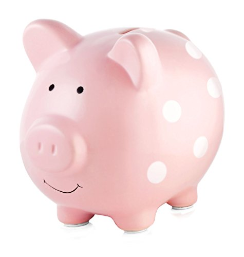 Flower Girl Piggy Bank - Pearhead Ceramic  Pink Piggy Bank, Makes a Perfect Unique Gift, Nursery Décor, Keepsake, or Savings Piggy Bank for Kids, Pink