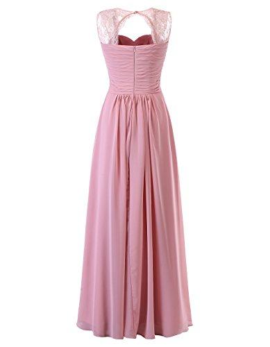 Gowns Long Chiffon Lace Women's Tideclothes Wedding Party Dresses Blue ALAGIRLS Straps Bridesmaid p1vw0wq