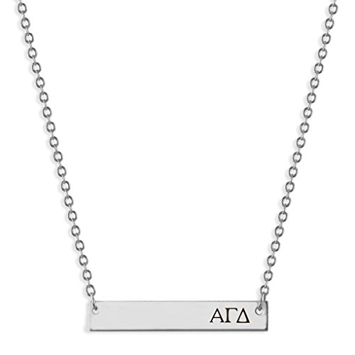 A-List Greek Horizontal Bar Necklace - Alpha Gamma Delta Hand Stamped Greeks Letters Jewelry | Silver Plated Sorority Necklaces - Great Gift for Sororities Girls, Big and Little Sister