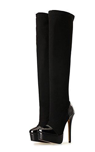 Lange Knæ Af Sko Hæl D Låret 2 Nye Efterår Kvinders Eksfolierende Vinter Sorte Forår Mode Vandtæt Stilethæl Boot Høj Festival Hudens Elasticitet Ægte EwCXqzx8