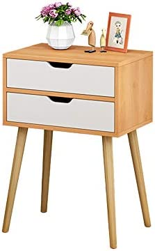 Feishe Easy Assemble Storage Cabinet Bedroom Bedside Locker Double Drawer Nightstand Bedside Cabinet