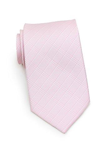 (Bows-N-Ties Men's Necktie Solid Glen Check Microfiber Satin Ties 3.25 Inches (Rose Pink) )