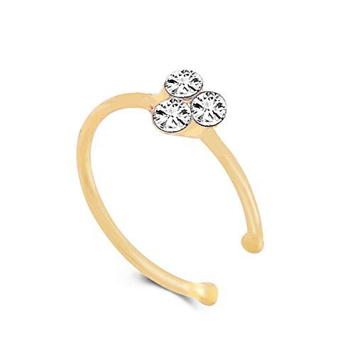 Crystal Rhinestone Nose Ring Bone Stud Surgical Steel Body Piercing Jewelrcda Cs   Color - Gold