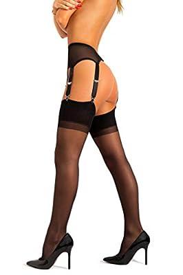 sofsy Sheer Thigh High Stockings for Garter Belt and Suspender Belt Plain 15 Den [Made in Italy] (Garter Belt Not Included)