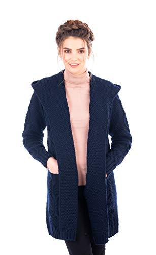 100% Irish Merino Wool Ladies Classic Fit Long Cardigan with Hood (Navy, XXL) ()