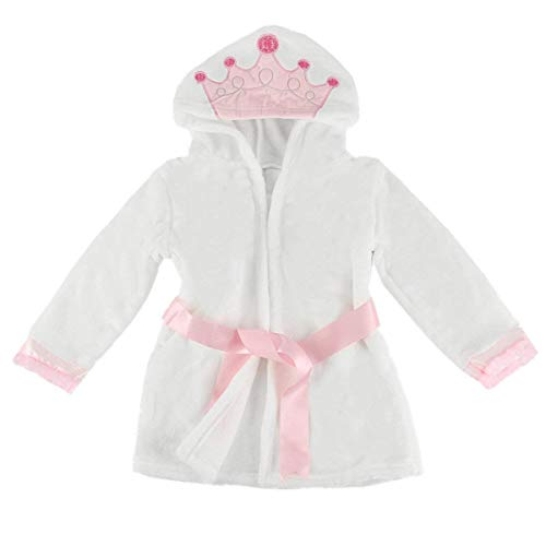 puseky Baby Girls Princess Crown Lace Dressing Gown Bath Robe Sleepwear Pajamas (2-3 Year, White+Pink)