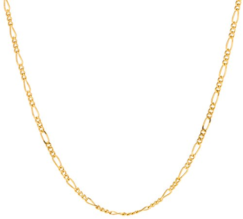 (Lifetime Jewelry Figaro Chain 1.5MM, 24K Gold with Inlaid Bronze, Premium Fashion Jewelry, Pendant Necklace Made Thin for Charms, Guaranteed for Life, Short 16 Inches )