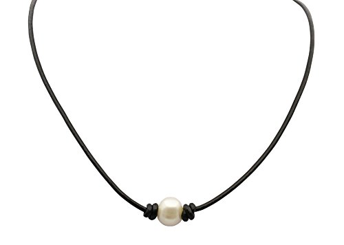 MoningJewelry White Cultured Freshwater Pearl Choker Leather Necklace,14'',15'',16'' black necklace (15) (Tan Of Pearl Mother)