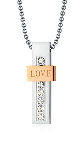 Gnzoe Jewelry, Mens Stainless Steel LOVE Rhinestone Crystal Pendant Necklace For His Hers Black Rosegold