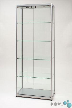 POV® Glasvitrine MPC 800-Tech, silber mit Beleuchtung und 2 Drehtüren-Front
