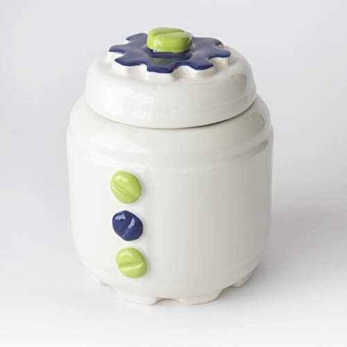 Azucarero de Cerámica Artesanal, Más colores disponibles, diseño mecánico con engranajes y tornillos - h 10,5 x Ø 8cm (Verde, Azul)