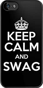SUUER KEEP CALM AND SWAG (dark) Custom Hard CASE for iPhone 5 5s Durable Case Cover