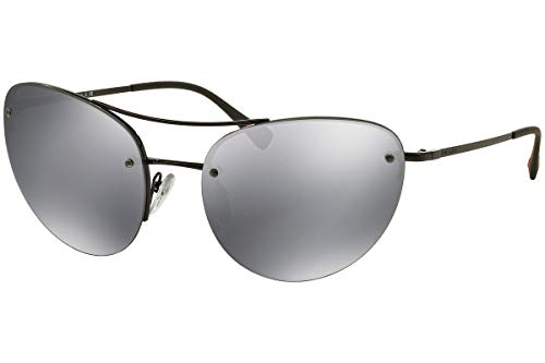 Prada PS51RS Sunglasses Black w/Light Gray Mirror Lens 7AX5L0 SPS51R ()