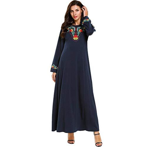 Qingell Dress Women Muslim Dress Kaftan Long Sleeve Casual Maxi Dress Dubai Muslim Abaya Long Gown Long Dress Navy