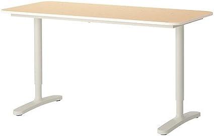 IKEA BEKANT – Mesa, chapa de abedul, blanco: Amazon.es: Oficina y ...