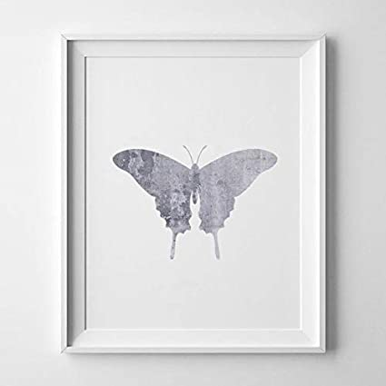bca196935 Magictrees & Bumblebees Grey Butterfly Print, Silver Butterfly, Butterfly  Art, Silver Prints,