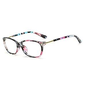 D.King Vintage Horn Rimmed Cat Eye Eyeglasses Frame Glasses Clear Lens Flower