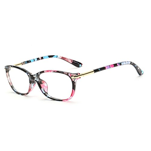 D.King Vintage Horn Rimmed Cat Eye Eyeglasses Frame Glasses Clear Lens - Flower Frames Glasses
