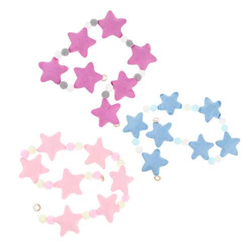Fenteer 3 Unids Bolas Y Estrellas Guirnalda Colgante De Pared Guirnaldas De Cadena De Estrella Adornos De Navidad Decoración