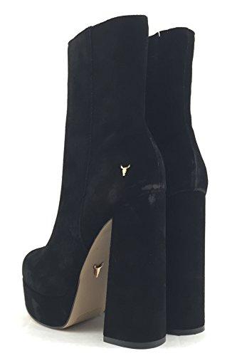 Windsor Smith Clover stivaletto donna tacco alto in camoscio nero