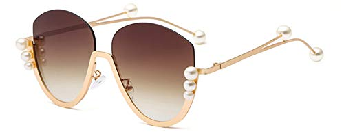 Round Pink Venetian Mirror - Venetian Pearl Decoration Half Frame Women Shield Sunglasses Clear Red Pink Blue Shades Tea Gradient