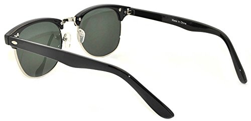 New Fashion Classic Black-Silver Half Frame Sunglasses with Green Lens by OWL (Image #2)