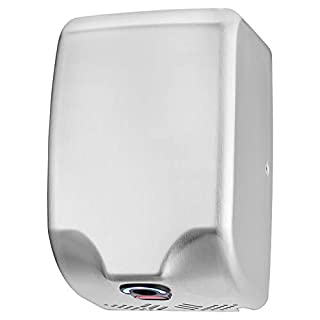 ASIALEO 120V/1350W Commercial Electric Hand Dryer for bathrooms,Automatic Sensor,High Speed with Low Noise,Hot/Cold Air,Brushed Stainless Steel 304 Cover,Innovative Compact Design, Easy Installation