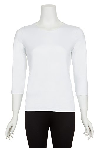 - A'NUE LIGNE A'nue Miami Women's Boxy Sleeved, ¾ Sleeve Basic Crew Neck Shirt, Large, White