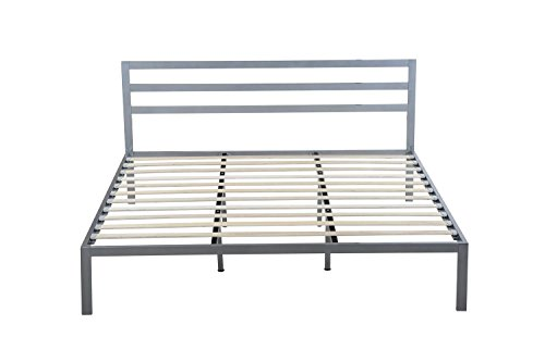Oliver Smith - Modern Heavy Duty Silver Iron Metal Platform Bed with Slats / No Box Spring Needed / Wooden Slat Supports - 5 Year Warranty Included - 00015 - Queen