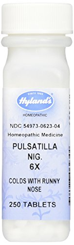 Hyland's Pulsatilla Nig. 6X Tablets, Natural Relief of Colds, Night Cough or Headache, 250 Count
