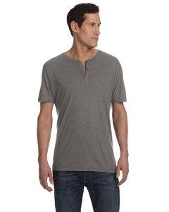 Bella 3125 Mens Triblend Short Sleeve Henley - Grey Triblend, Large