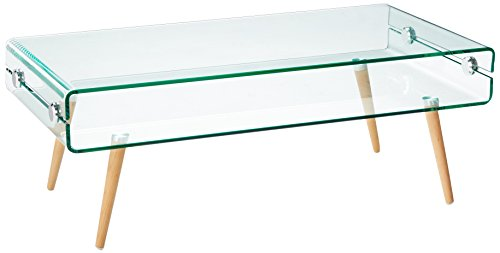 Versanora VNF-00027 Cassetto Stylish Beautiful Industrial Modern Glass Coffee Table, Large, - Table Glass Modern Coffee