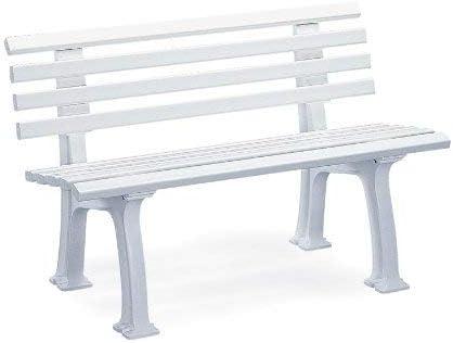 Fabricación alemana, color blanco resina impermeable banco de jardín: Amazon.es: Jardín