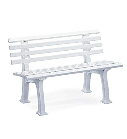 Outstanding Plow And Hearth German Made White Weatherproof Outdoor Resin Garden Bench Machost Co Dining Chair Design Ideas Machostcouk