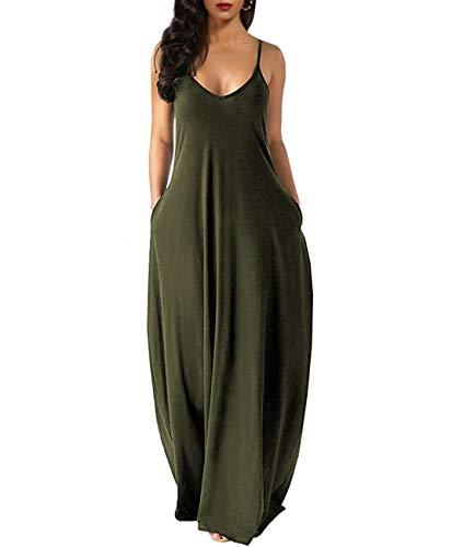 Zabrina Stores Womens Casual Sleeveless Plus Size Loose Plain Long Maxi Dress with Pocket Thin Army Green 3X