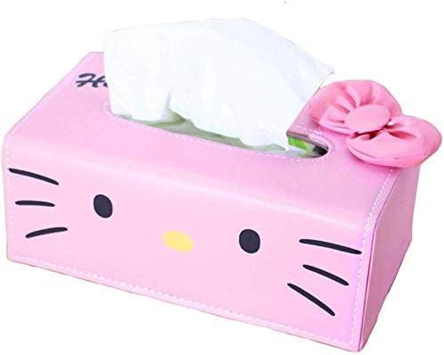 Hello Kitty PU Leather Tissue Paper Box Kleenex Cover Holder for Car Desk