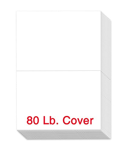 80lb White Half Fold Greeting Cards Uncoated, 5.5 X 8.5 Inches When Folded - 50 Cards -