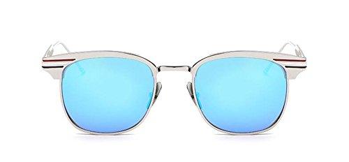 Hommes Lunettes du de Métallique Style Bleu Cercle et Rond Pour Femmes en Glacier Steampunk Retro Soleil Inspirées Polarisées IpOwdxpr
