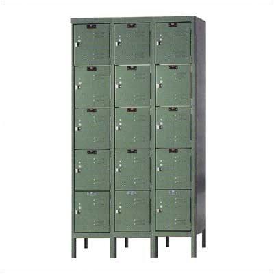 Hallowell U3256-5-HG Premium Box KD Metal Locker, Unassembled, 3-Wide Grouping, 5 Tier, 12