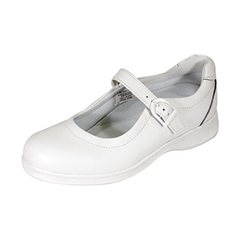 24 Hour Comfort  Cara Women Extra Wide Width Adjustable Buckle Step in Mary Jane Shoe White 9 by 24 Hour Comfort