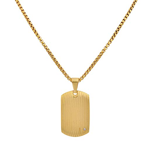 Geoffrey Beene Stainless Steel Men's Dog Tag Necklace with Cubic Zirconia Stone, Gold ()