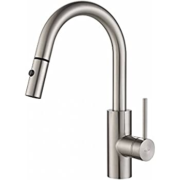 Kraus KPF-2620SS Modern Oletto Single Lever Pull Down Kitchen Faucet, Stainless Steel