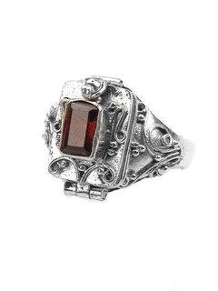 Sterling Silver Garnet Poison Box Locket Ring Size 6(Sizes 4,5,6,7,8,9,10)