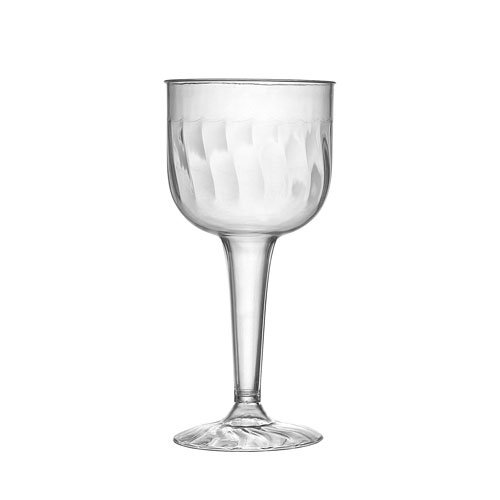 Fineline Settings 2209 - 8 Ounce Flairware Clear One Piece Plastic Wine Glass Goblet 96 Pieces