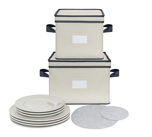 (Chapman & Grand Plate Storage Chests (2-Piece Set), Dinnerware Protective Container Box for Dinner, Salad or Dessert Plates (Light Beige-Navy))
