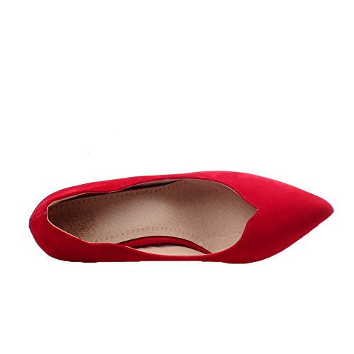 VogueZone009 Women's Buckle Kitten-Heels Frosted Solid Square-Toe Pumps-Shoes Beige DRC0ApC