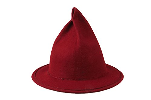 (Dantiya Women's Wool Felt Candy Colored Sharp Pointed Witch Hat (Wine Red) )
