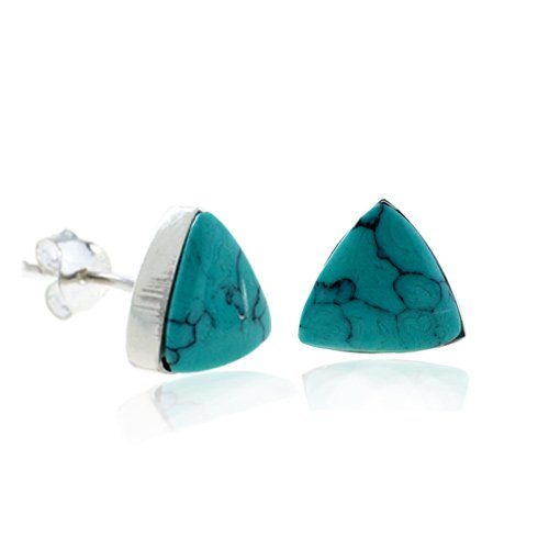 925 Sterling Silver Tiny Blue Turquoise Gemstone Triangle 9 mm Post Stud Earrings